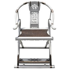 White Chinese Horseshoe Folding Chair Jiao Yi