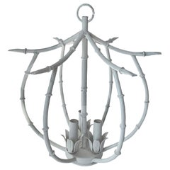 White Chinoiserie Faux Bamboo Petite Chandelier