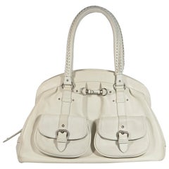 White Christian Dior Leather Hobo Bag
