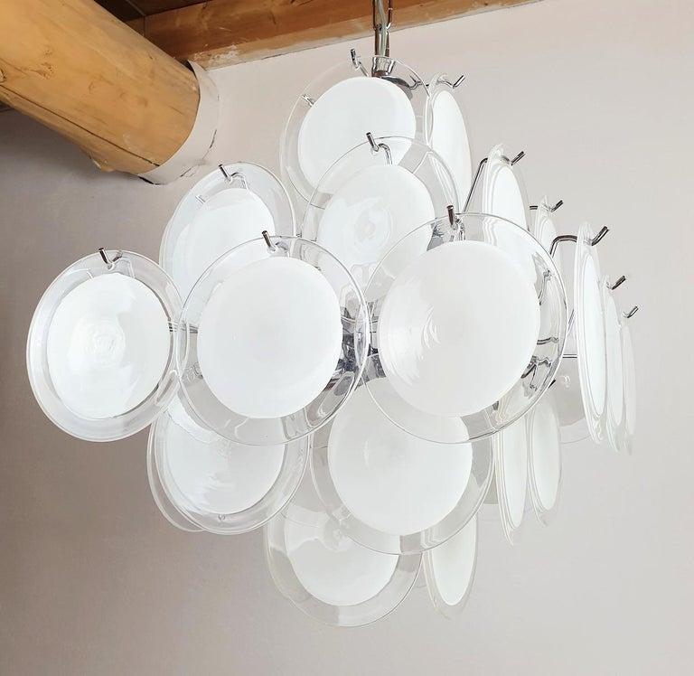 Italian White & Clear Murano Glass Mid-Century Modern Disc Chandelier, Vistosi Italy 80s For Sale