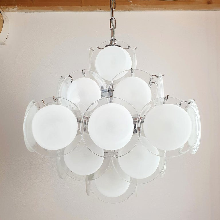 Hand-Crafted White & Clear Murano Glass Mid-Century Modern Disc Chandelier, Vistosi Italy 80s For Sale