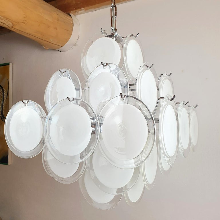 Late 20th Century White & Clear Murano Glass Mid-Century Modern Disc Chandelier, Vistosi Italy 80s For Sale