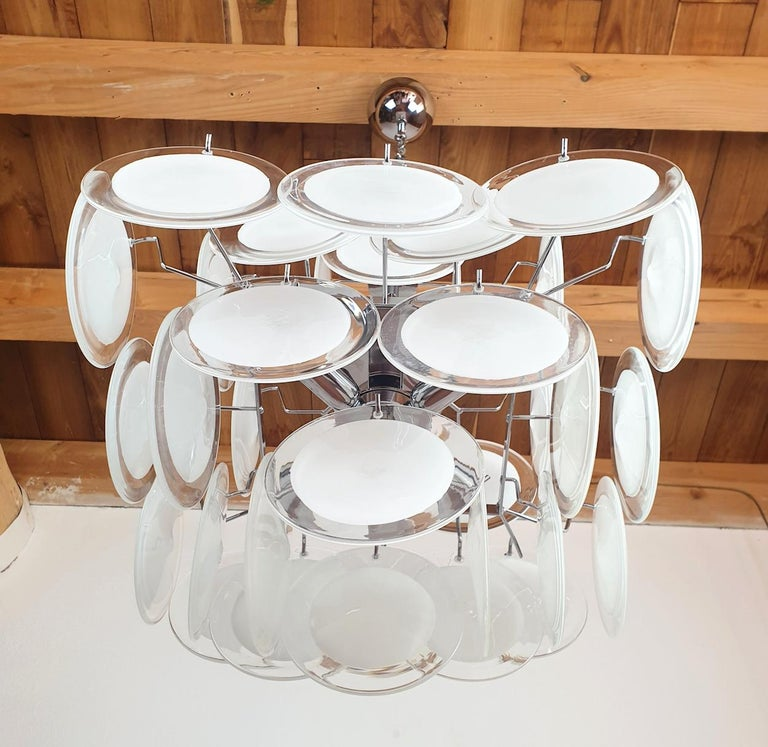 White & Clear Murano Glass Mid-Century Modern Disc Chandelier, Vistosi Italy 80s For Sale 1
