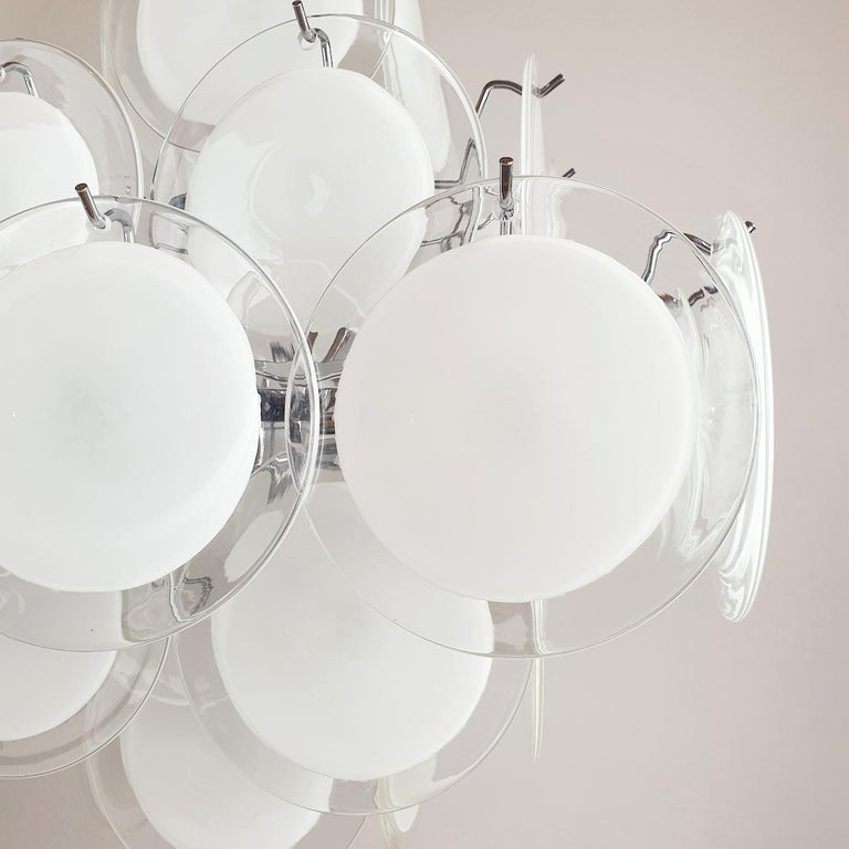 White & Clear Murano Glass Mid-Century Modern Disc Chandelier, Vistosi Italy 80s For Sale 2