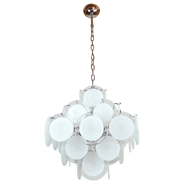 White & Clear Murano Glass Mid-Century Modern Disc Chandelier, Vistosi Italy 80s For Sale