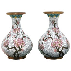 White Cloisonné Enamel and Brass Vases with Pink Cherry Blossom Design, a Pair