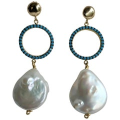 White Coin Cultured Pearls Turquoise Zirconia on 925 Silver 14k Gold Filled Post