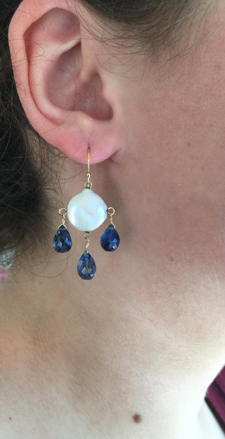 White Coin Pearl and Kyanite Drop Earrings with 14 Karat Yellow Gold Hooks 6