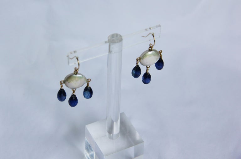 White Coin Pearl and Kyanite Drop Earrings with 14 Karat Yellow Gold Hooks 2