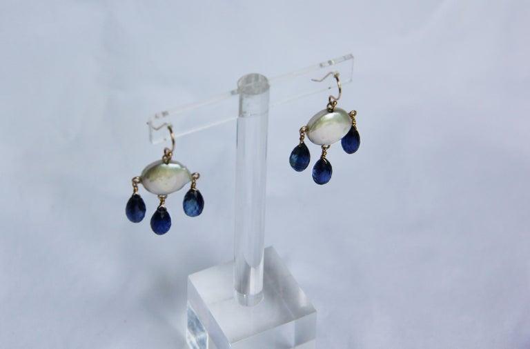 Marina J White Coin Pearl and Kyanite Drop Earrings & 14 K Yellow Gold Hooks 2