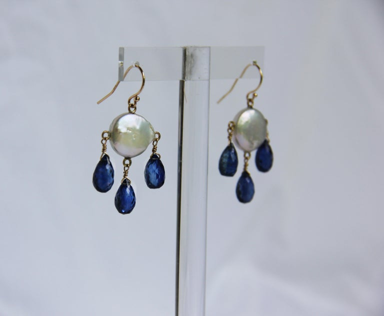 White Coin Pearl and Kyanite Drop Earrings with 14 Karat Yellow Gold Hooks 3