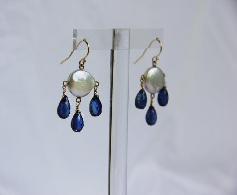 Marina J White Coin Pearl and Kyanite Drop Earrings & 14 K Yellow Gold Hooks 3