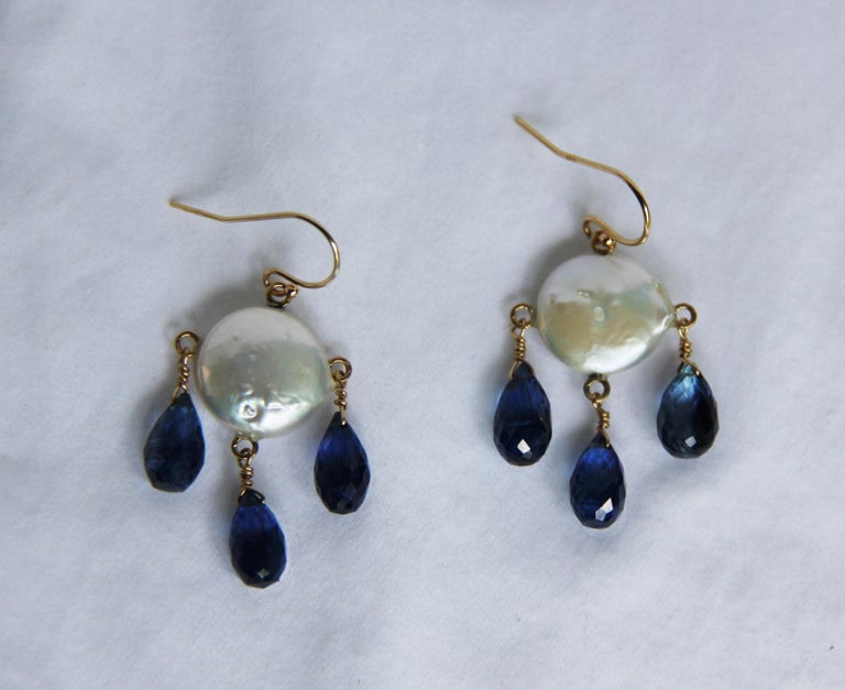 White Coin Pearl and Kyanite Drop Earrings with 14 Karat Yellow Gold Hooks 4