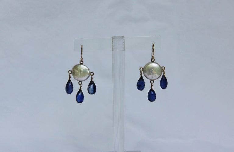 Marina J White Coin Pearl and Kyanite Drop Earrings & 14 K Yellow Gold Hooks 5