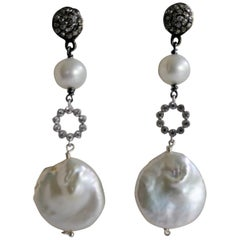White Coin & Round Cultured Pearls Cubic Zirconia 925 Silver Diamond Earrings