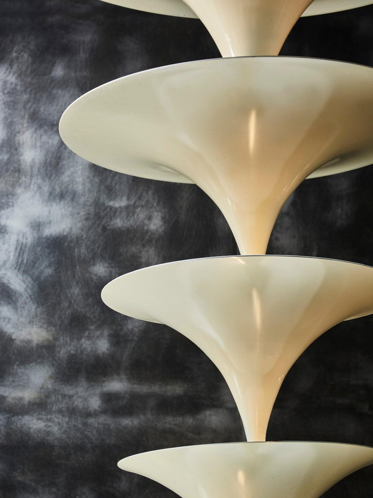 Italian White Cones Stack Vintage Chandeliers For Sale