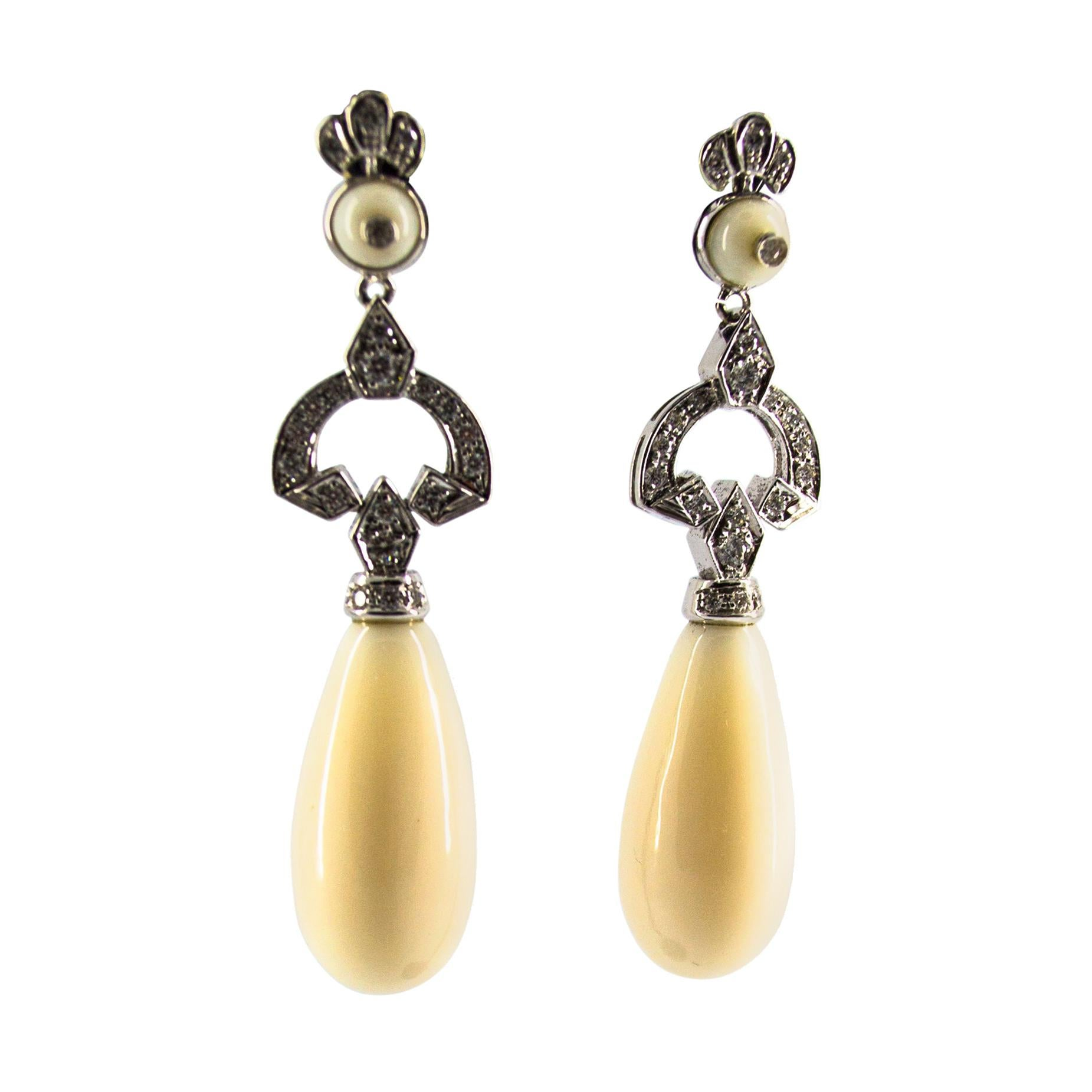 White Coral 0.70 Carat White Diamond White Gold Drop Stud Earrings