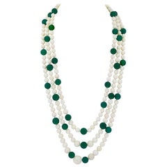 White Coral and Green Onyx 3-Strand Necklace