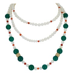White Coral and Green Onyx Necklace