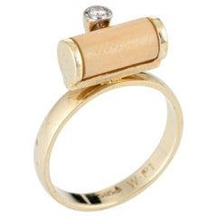 White Coral Diamond Barrel Ring Vintage 14 Karat Gold Stacking Jewelry Estate