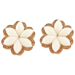 White Coral Flowers, Diamonds, 14K Rose Gold Clip-on Earrings