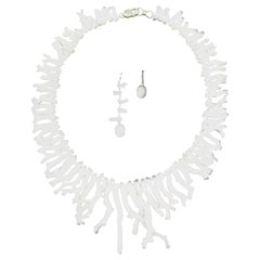White Coral Earrings and Necklace Set in Sterling Silver