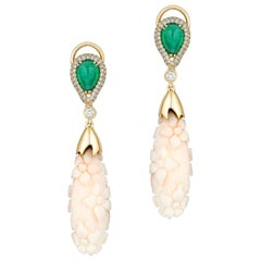 Goshwara Engraved White Coral Flower with Emerald and Diamond Earrings