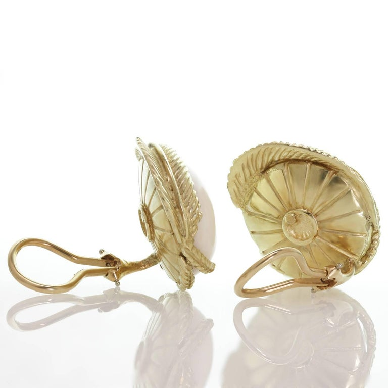 Women's White Coral Textured Yellow Gold Clip-On Earrings For Sale