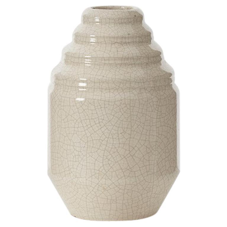 White Crackle Glaze Art Deco Vase, France, circa 1920s For Sale
