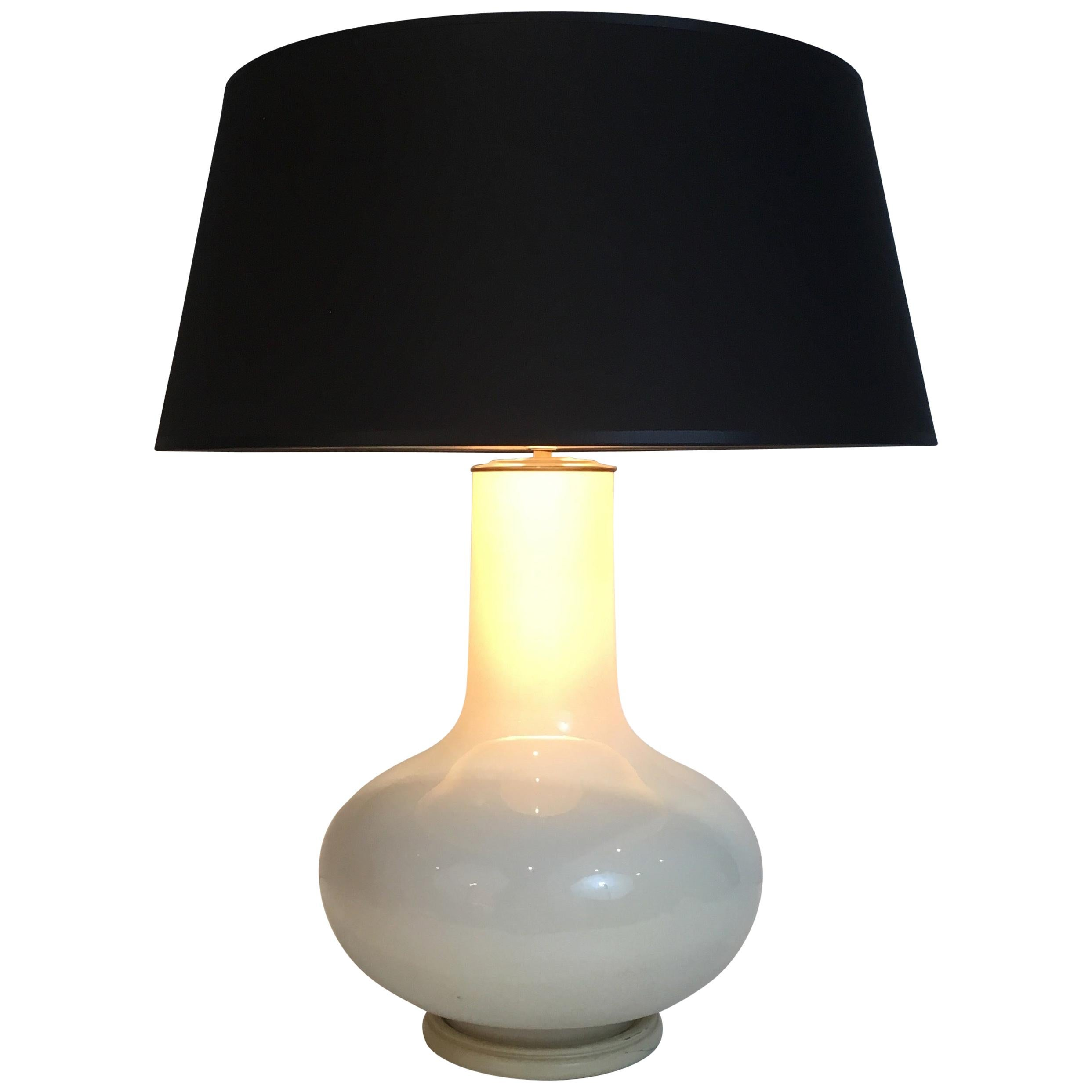 White Crackled Ceramic Table Lamp with Black Shade Gilt Inside French circa 1970