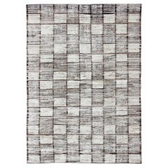 White, Cream and Brown Casual Modern Checkered Design Large Modern Rug
