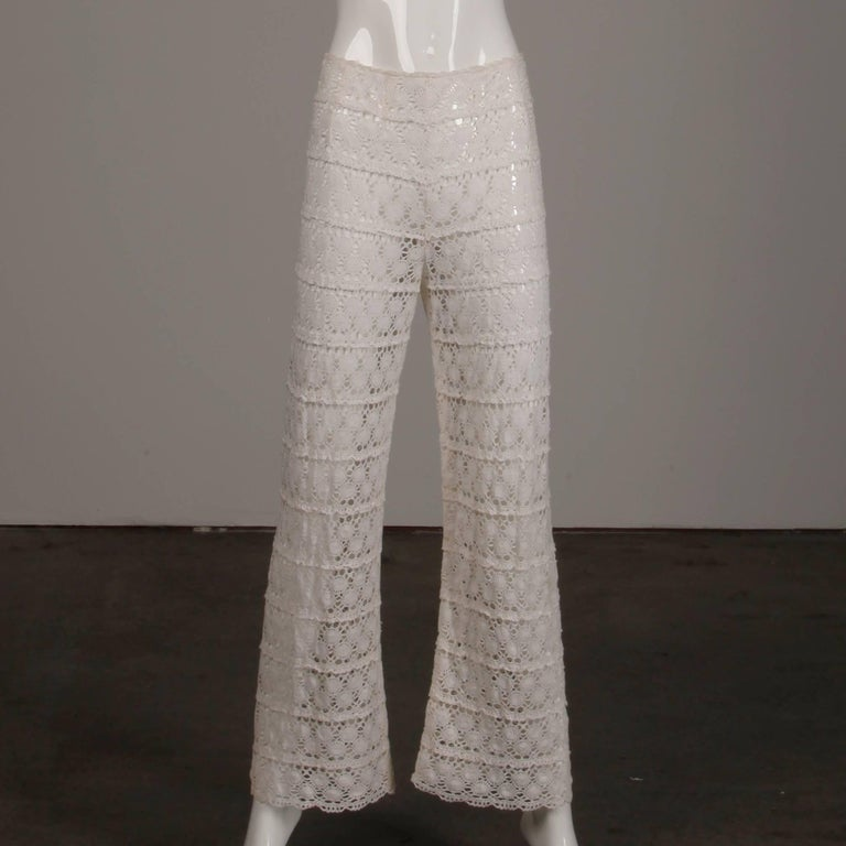Women's White Crochet Lace Vintage Bell Bottom Pants and Top Ensemble or Jumpsuit, 1970s For Sale