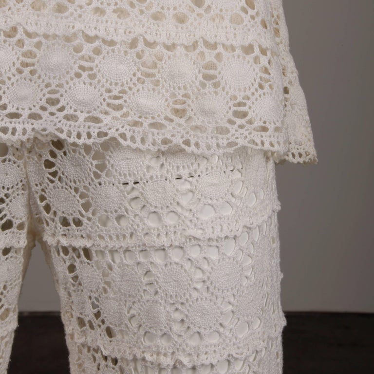 White Crochet Lace Vintage Bell Bottom Pants and Top Ensemble or Jumpsuit, 1970s For Sale 4