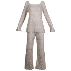 White Crochet Lace Vintage Bell Bottom Pants and Top Ensemble or Jumpsuit, 1970s