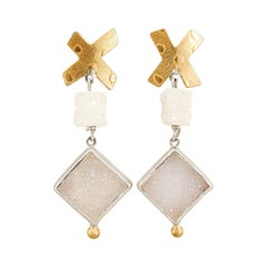 22 Karat Yellow Gold and Silver Dangle Earrings with White Crystal Druzy Agates
