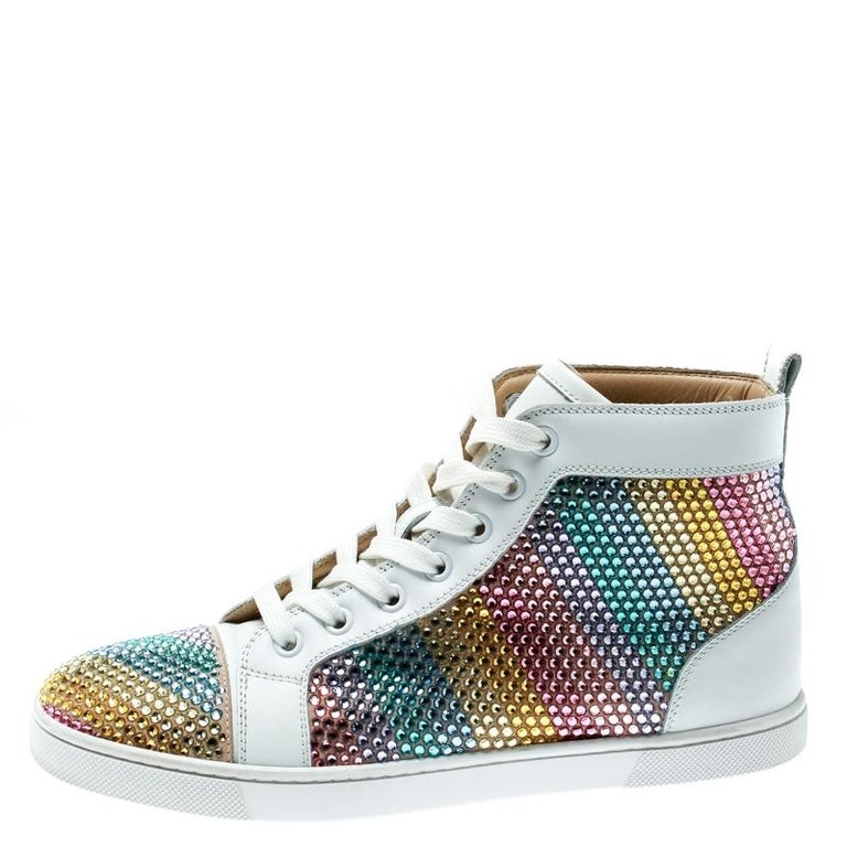 the best attitude 1d552 f7370 White Crystal Embellished Leather Rainbowbip Lace Up Sneakers Size 37