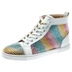 White Crystal Embellished Leather Rainbowbip Lace Up Sneakers Size 37