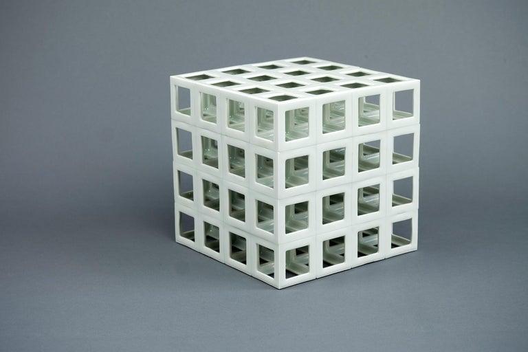 Japanese White Minimal Geometric Porcelain Sculpture (Cube Shape) For Sale