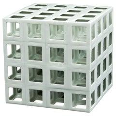 White Minimal Geometric Porcelain Sculpture (Cube Shape)