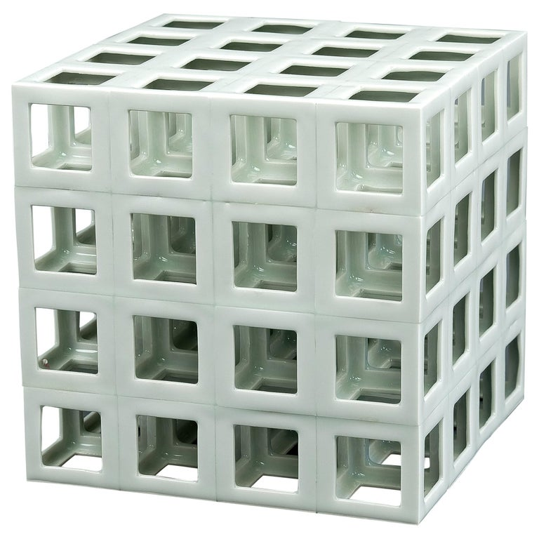 White Minimal Geometric Porcelain Sculpture (Cube Shape) For Sale
