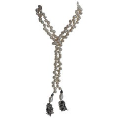White Cultured Drop Pearls with Sterling Tassel Long Lariat Necklace