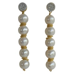 White Cultured Pearl Cubic Zirconia 925 Vermeil Sterling Silver Earrings