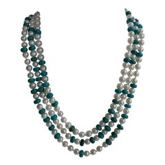 White Cultured Pearls Chinese Turquoise 925 Sterling  Clasp Necklace