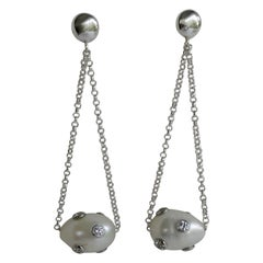 White Cultured Pearls Cubic Zirconia 925 Sterling Silver Post Earrings
