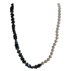 White Cultured Pearls Hematite 925 Sterling Silver Clasp Gemstone Necklace