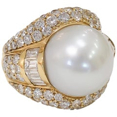 White Cultured South Sea Pearl Dome Ring with Diamonds