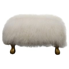 White Curly Lambswool Skin Ottoman, on Gilded Legs, Custom Made