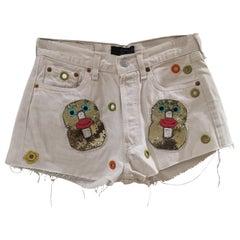 White customised SOAB shorts