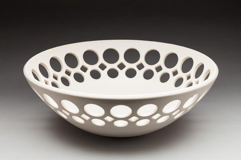 Mid-Century Modern White Demi Pierced Bowl, In Stock For Sale