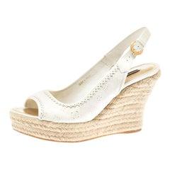 White Denim Monogram And Espadrilles Wedge Slingback Sandals Size 38